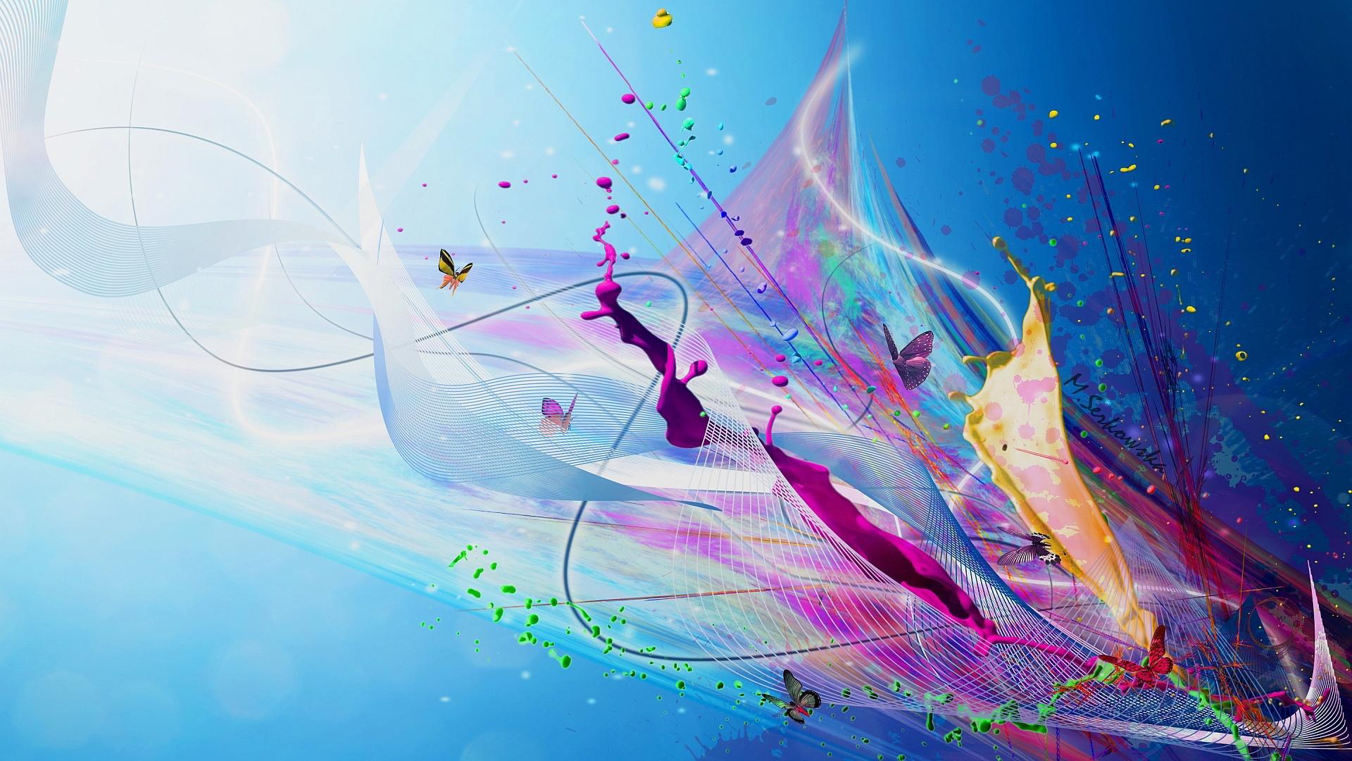 Paint Splash Windows 10 Wallpaper Abstract Hd 1920x1080